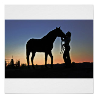 Cowgirl and Horse Sunset Poster
