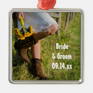 Cowgirl and Sunflowers Country Western Wedding Silver-Colored Square Decoration