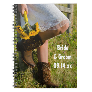 Cowgirl and Sunflowers Country Western Wedding Spiral Note Book