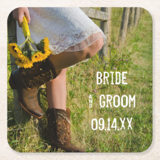 Cowgirl and Sunflowers Country Western Wedding Square Paper Coaster