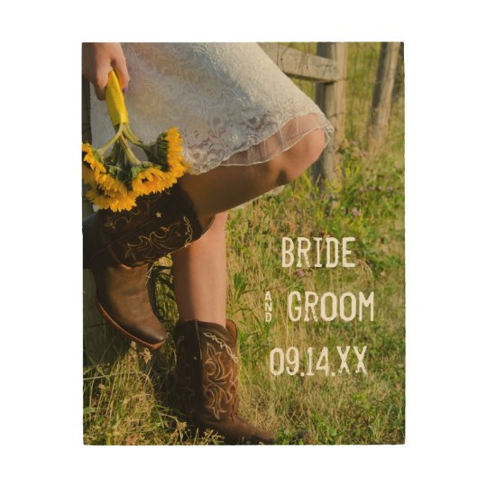 Cowgirl and Sunflowers Country Western Wedding Wood Wall
