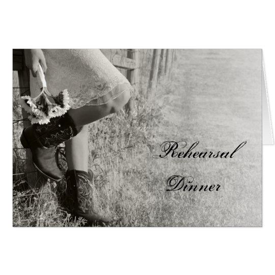 Cowgirl and Sunflowers Rehearsal Dinner Invite Card