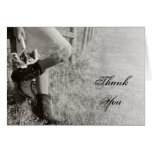 Cowgirl and Sunflowers Wedding Thank You Note