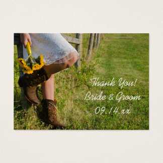 Cowgirl and Sunflowers Western Wedding Favor Tags