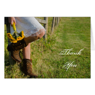 Cowgirl and Sunflowers Western Wedding Thank You Card