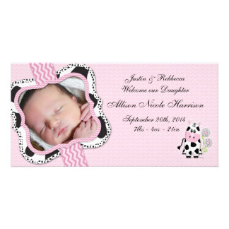 Cowgirl Baby Announcement with Chevron Print Photo Cards