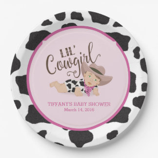 Cowgirl Baby Shower Personalized Plate Brunette 3 9 Inch Paper Plate