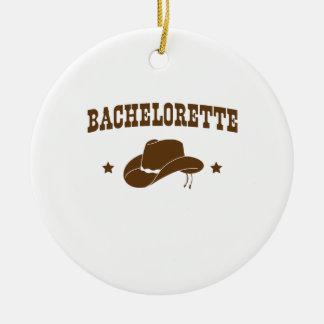 Cowgirl Bachelorette Round Ceramic Decoration