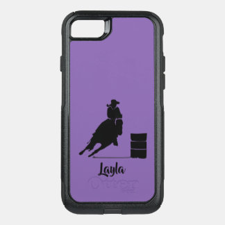 Cowgirl Barrel Racer Silhouette Rodeo on Purple OtterBox Commuter iPhone 8/7 Case