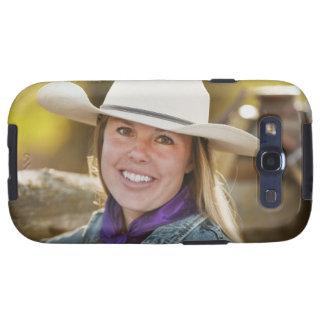 Cowgirl beside fence galaxy SIII case