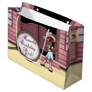 Cowgirl Birthday Gift Bag - Large, Glossy Large Gift Bag