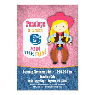 Cowgirl Birthday Invitation - Girls Pink Western