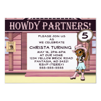 """Cowgirl Birthday Invitations"" 7"" x 5"" Cards"