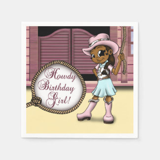 """Cowgirl Birthday Paper Napkins"" Paper Serviettes"