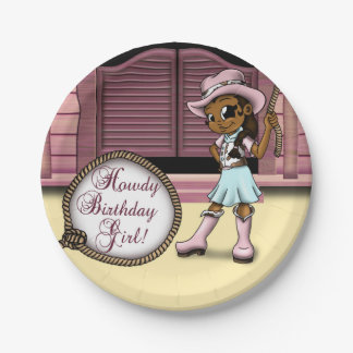 """""""Cowgirl Birthday Paper Plates 7"""""""