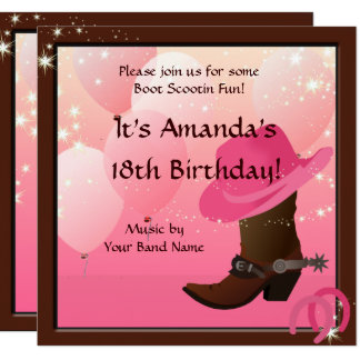 Cowgirl Birthday Party Boot Scottin Custom 13 Cm X 13 Cm Square Invitation Card