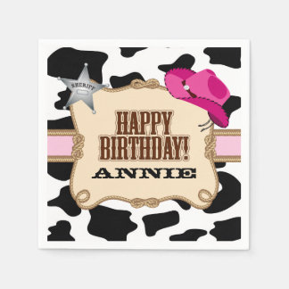 Cowgirl Birthday Party, Custom Napkins Disposable Napkin