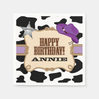 Cowgirl Birthday Party, Custom Napkins Disposable Serviettes