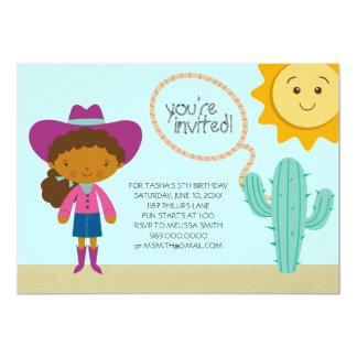 "Cowgirl Birthday Party Invitations 5"" X 7"" Invitation Card"