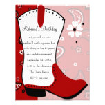Cowgirl Boot Birthday Personalized Announcements