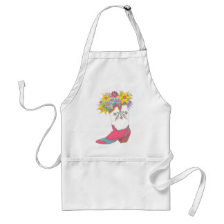 Cowgirl Boot with Flowers Standard Apron