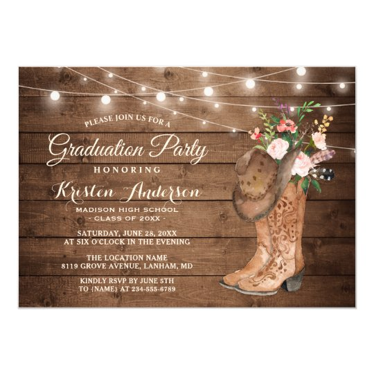 Cowgirl boots graduation party invitation zazzle cowgirl boots graduation party invitation filmwisefo