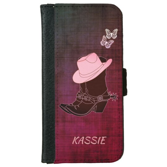 Cowgirl Boots Hat Butterfly Burgundy Personalised iPhone 6 Wallet Case