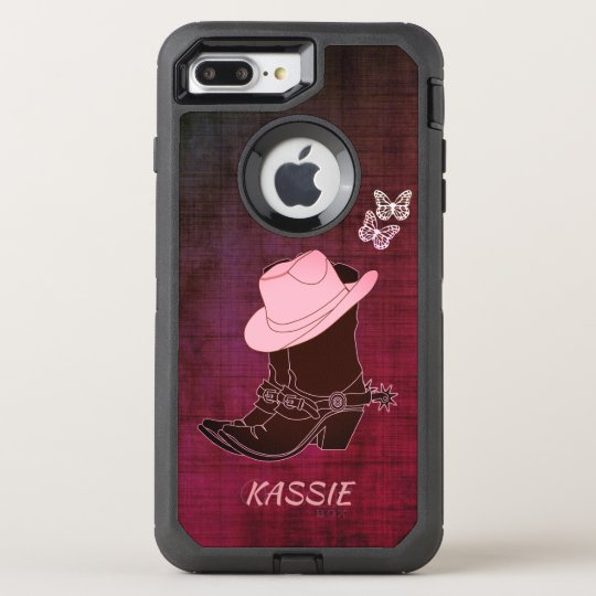 Cowgirl Boots Hat Butterfly Burgundy Personalised OtterBox Defender iPhone 8 Plus/7 Plus Case