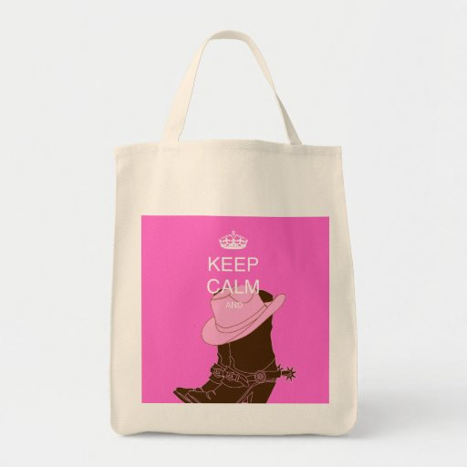 COWGIRL boots hat pink keep calm Tote Bags