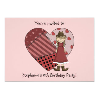 Cowgirl Boots Patchwork Heart  Girl Birthday Party 13 Cm X 18 Cm Invitation Card