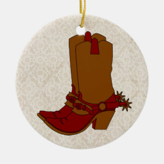 Cowgirl Boots Round Ceramic Decoration