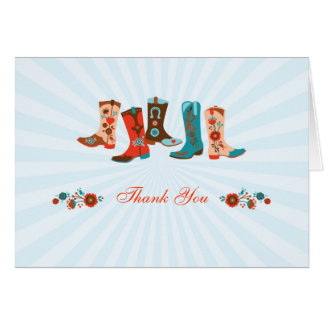 Cowgirl Boots Thank You Card
