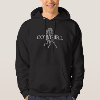 Cowgirl Bronc Horse (grey horse, white text) Hoodie