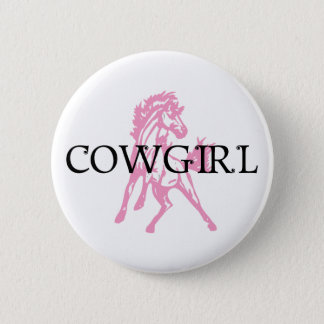 Cowgirl Bronc Horse (pink horse version) 6 Cm Round Badge