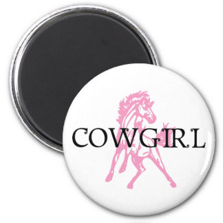 Cowgirl Bronc Horse (pink horse version) Magnet