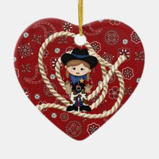 Cowgirl Ceramic Heart Decoration