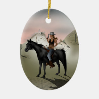 Cowgirl Ceramic Oval Decoration