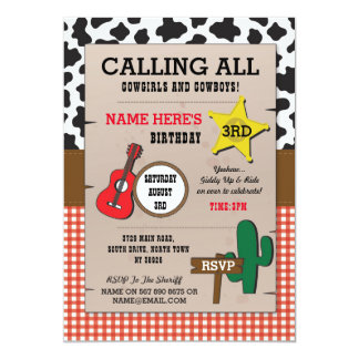 Cowgirl Cowboys Red Check Birthday Western Invite