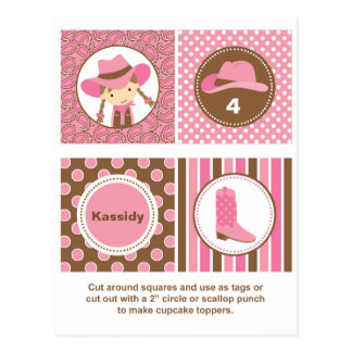 Cowgirl Cupcake Toppers Postcard