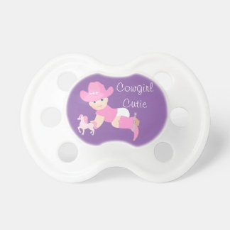 Cowgirl Cutie Baby With Pink Hat, Boots and Horse Baby Pacifiers