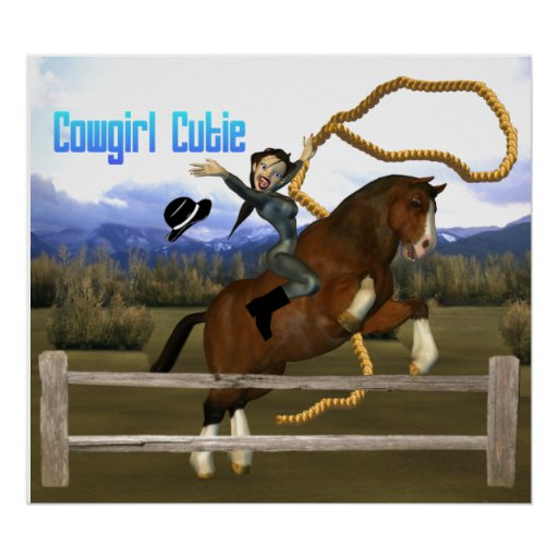Cowgirl Cutie Horse Rider Poster