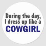 Cowgirl During The Day Round Stickers