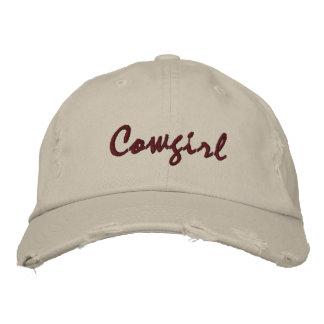 Cowgirl Embroidered Stone Ball Cap Womens Torn Baseball Cap