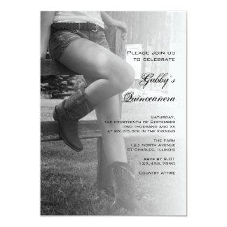 Cowgirl Fence Barn Party Quinceañera Invitation