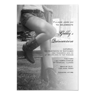 Cowgirl Fence Barn Party Quinceañera Invitation