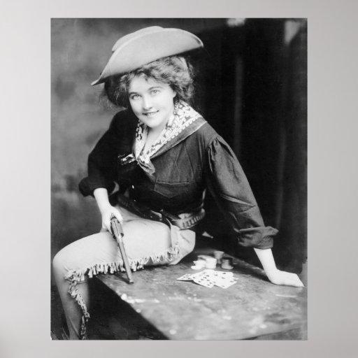 Cowgirl Gambler: 1909 Poster