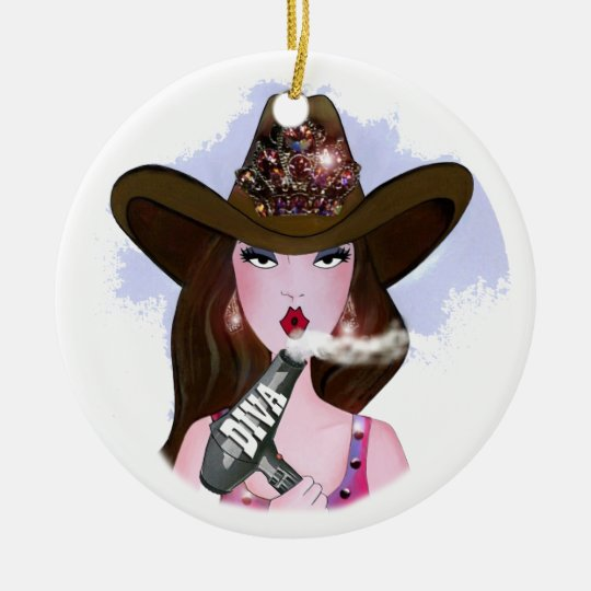"COWGIRL ""Hair Diva"" Christmas Ornament"