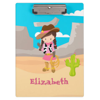 Cowgirl Hand Wave Desert Clipboard