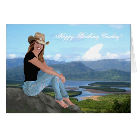 Cowgirl - Happy Birthday Cowboy - Card
