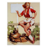Cowgirl Hitch a Ride Pin Up Poster